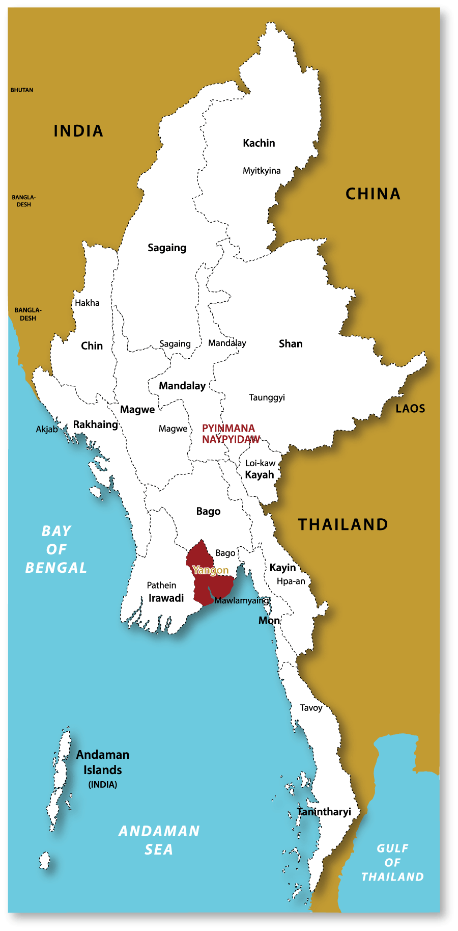 Tonkin Travel Map – Myanmar Travel Map